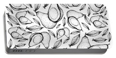 Hand Drawn Of Fresh Green Avocados Background Portable Battery Charger