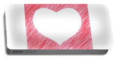 Hand-drawn Red Heart Shape Portable Battery Charger by GoodMood Art