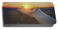 Portable Battery Charger featuring the photograph Hand Holding Sun - Sunset At Lapham Peak - Wisconsin by Jennifer Rondinelli Reilly - Fine Art Photography
