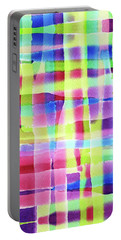 Hand-painted Abstract Gingham Weave Neon Rainbow Portable Battery Charger