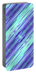 Hand-painted Abstract Stripes Teal Violet Turquoise Purple Portable Battery Charger