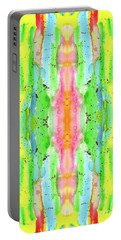 Hand-painted Abstract Watercolor In Bright Rainbow Hues Portable Battery Charger