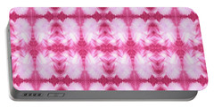 Hand-painted Abstract Watercolor In Dark Pink And White Portable Battery Charger