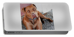 Handsome Red Nose Pit Jak Portable Battery Charger by Belinda Lee