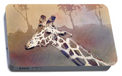 Portable Battery Charger featuring the painting Hanging Out- Giraffe by Ryan Fox