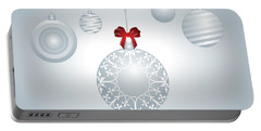 Hanging Silver And White Christmas Bulbs Portable Battery Charger by Serena King
