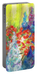 Portable Battery Charger featuring the painting Hanging With The Delphiniums  by Frances Marino