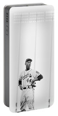 Hank Aaron On The Field, 1958 Portable Battery Charger by The Harrington Collection