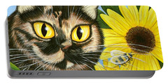 Hannah Tortoiseshell Cat Sunflowers Portable Battery Charger