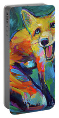 Happiest Fox Portable Battery Charger by Robert Phelps