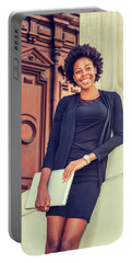 Happy African American College Student Portable Battery Charger