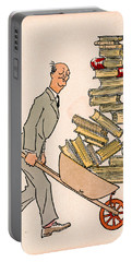 Portable Battery Charger featuring the drawing Happy Bibliophile 1930 by Padre Art