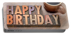 Happy Birthday Greetings Card In Wood Type Portable Battery Charger