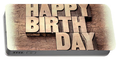 Happy Birthday Greetings In Wood Type Portable Battery Charger