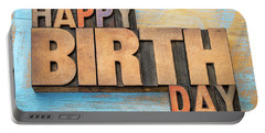 Happy Birthday Word Abstract In Wood Type  Portable Battery Charger