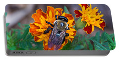 Happy Bumblebee Portable Battery Charger by Kenneth Albin