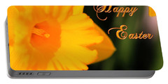 Portable Battery Charger featuring the photograph Happy Easter Yellow Daffodil Spring Flowers by Shelley Neff