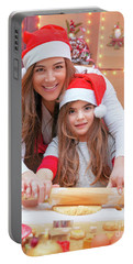 Happy Family Making Christmas Cookies Portable Battery Charger