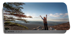 Happy Female Hiker At The Summit Of An Appalachian Mountain Portable Battery Charger