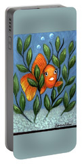 Happy Goldfish Portable Battery Charger by Sandra Estes