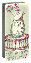 Happy Hedgehog Birthday Portable Battery Charger by Denise Fulmer