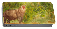 Portable Battery Charger featuring the painting Happy Hippo by Vicki  Housel