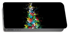 Happy Holidays - Abstract Tree - Horizontal Portable Battery Charger