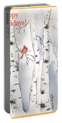 Portable Battery Charger featuring the painting Happy Holidays by Maria Langgle