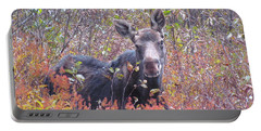 Happy Moose Portable Battery Charger by Elizabeth Dow