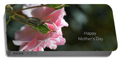 Happy Mother's Day With Pink Rose Portable Battery Charger