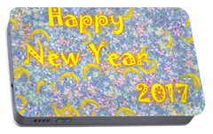 Portable Battery Charger featuring the digital art Happy New Year 2017 by Jean Bernard Roussilhe