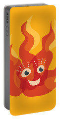 Happy Orange Burning Fire Character Portable Battery Charger