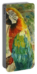 Portable Battery Charger featuring the painting Happy Parrot by Maria Langgle