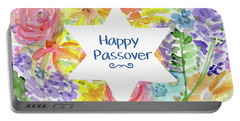 Portable Battery Charger featuring the mixed media Happy Passover Floral- Art By Linda Woods by Linda Woods