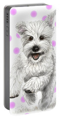 Portable Battery Charger featuring the drawing Happy Pink Polka Dots Doggy  by Heidi Kriel