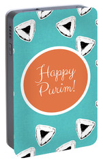 Portable Battery Charger featuring the mixed media Happy Purim Hamentashen- Art By Linda Woods by Linda Woods
