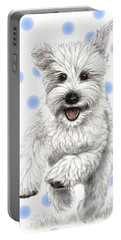 Portable Battery Charger featuring the drawing Happy Blue Polka Dots Doggy by Heidi Kriel
