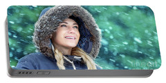 Happy Woman In Winter Park Portable Battery Charger