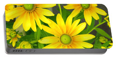 Happy Yellow Summer Cone Flowers In The Garden Portable Battery Charger