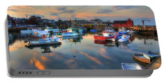 Portable Battery Charger featuring the photograph Harbor Sunset In Rockport Ma by Joann Vitali