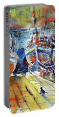Harbor With Cats Portable Battery Charger by Kovacs Anna Brigitta