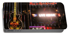 Hard Rock Cafe Las Vegas Strip At Night Portable Battery Charger by RicardMN Photography