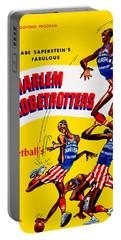 Harlem Globetrotters Vintage Program 32nd Season Portable Battery Charger by Big 88 Artworks