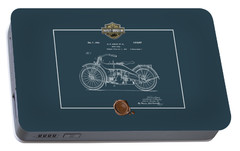 Portable Battery Charger featuring the digital art Harley-davidson 1924 Vintage Patent Blueprint  by Serge Averbukh