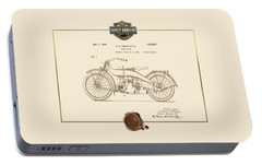 Portable Battery Charger featuring the digital art Harley-davidson 1924 Vintage Patent Document  by Serge Averbukh
