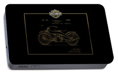 Portable Battery Charger featuring the digital art Harley-davidson 1924 Vintage Patent In Gold On Black by Serge Averbukh