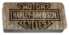 Harley Davidson Logo On Wood Portable Battery Charger