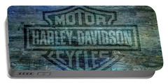 Harley Davidson Logo Weathered Wood Portable Battery Charger