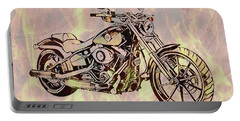 Portable Battery Charger featuring the mixed media Harley Motorcycle On Flames by Dan Sproul