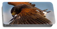 Portable Battery Charger featuring the photograph Harris Hawk Approach-signed-#6077 by J L Woody Wooden